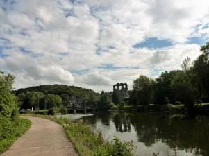 Les ruines de l'Abbaye d'Aulne au loin.